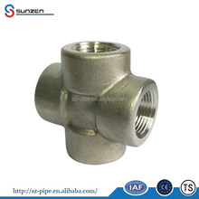 4 way joint fitting 1 inch forged npt thread connection 3000lbs pipe fitting