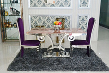A8083 Modern elegant metal base dining table with marble top