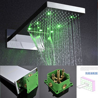 Rectangular BGR 3 color change by water temperature brushed surface led rainfall shower head