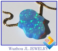 Wholesale 925 Sterling Silver High Quality hot Opal hamsa/hand necklace jewelry
