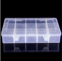 Adjustable 15 Slots/Compartments Plastic Storage Box Jewelry Tool Container