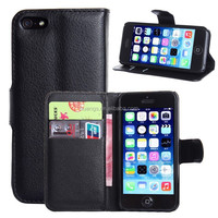 for apple iphone 5s case, Litchi Design Wallet Stand With Credit Card Sltos Magnet PU Leather Flip Case For iPhone 5S