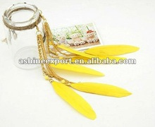 Extra long feather earring /feather earring 2012 with bright yellow color