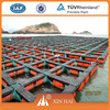 Square floating aquaculture tilapia fish farming cages made of PE knotless net