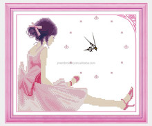 Young girl photo cross stitch for wall clock with good price