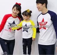 Customized logos pure cotton crewneck family set funny t shirt