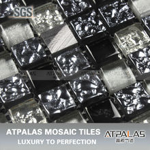 tile size 15x15x8 glass mix aluminum metal mosaic mesh mounted sheet