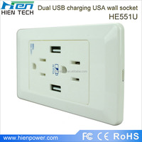 White color wall mounted usb wall socket power outlet in usa