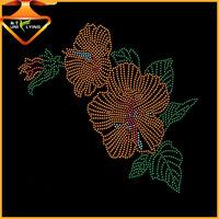 Beautiful flower hot fix rhinestone designs for clothing