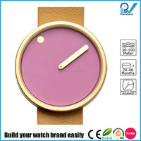 Newest design pvd gold stainless steel case hardened mineral glass lens dial rotates presenting Miyota movement minimalist watch