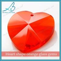 China manufaturer sale orange small glass heart for pendant