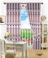 2015 New Continuous floral printed ready made curtains 70% shading silk shining polyester blind curtain fabrics