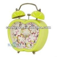 Apple shape metal double bell alarm clock