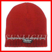 Red acrylic knitted beanie hat cheap winter hat for men hat with sewn label logo