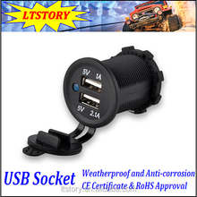 12-24V Colors LED Light Car Waterproof Dual USB Charger Adapter Socket