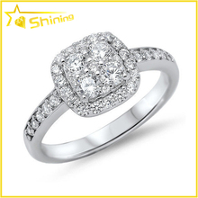2015 best selling classical wedding ring cz paved square shaped silver ring designs women 2012