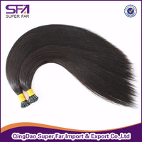 Natural color double drawn i tip 100% virgin indian remy hair extensions wholesale