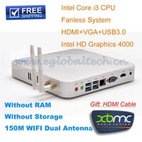 Hot Sell Free Shipping Fanless PC Intel Core i3 4010U Hotel Computer Networking Remote PC 2GB RAM 1TB HDD Mini ITX Case HDMI PC