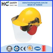 safety helmet earmuffs white abs plastic helmet