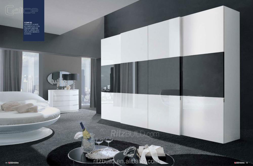 Ritz Fashionable Black And White Lacquer Door Closet ...