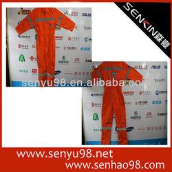Orange fire safety workwear suit