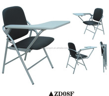 Fireproof plastic office and school folding training chair with writing pad ZD08F
