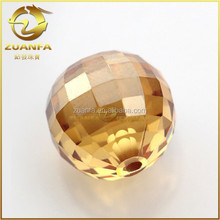 CZ supplier champagne faceted cz balls with full hole