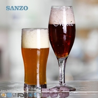 SANZO Hot Sale Hand Crafted Crystal Fizzy V Shaped Beer Glass Mug for Pub