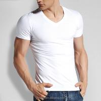 Top sell oem custom organic cotton long sleeve or short sleeve plain color v-neck blank white