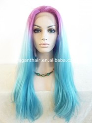 Fashion party wig for women straight blue ombre synthetic lace front wigs