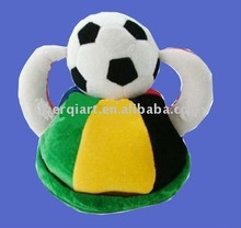 Fanny Brazil football hats with 1 ball and horns on top for world cup football game