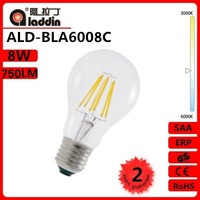 energy saving 360 degree 8W 750Lm Ra>80 6500K Glass CE RoHS A60 E27 led filament bulb