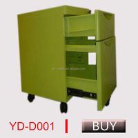black color mobile cabinet, office movable pedestal with cushion