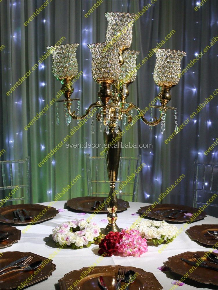 Wedding crystal candelabra centerpieces unique gold