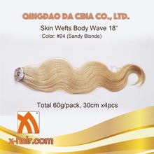 "Body Wave 20"" 30cmx4pcs Color: #24 Sandy Blonde 100% Virgin Chinese Remy Human Hair Machine made Skin wefts"