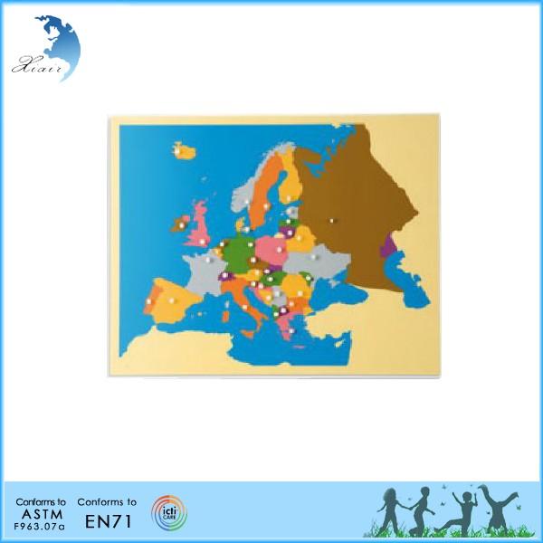 Crianças enigma de madeira montessori material didático do mundo mapa do zero