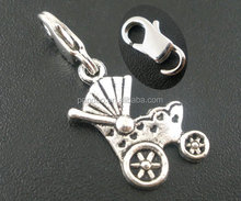 20 PCs Silver Tone Clip On Baby Carriage Charms Fit Link Chain Bracelet