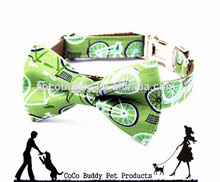 Flower pattern dog tie collar canvas dog hair bow on sale hot news pet dog products 2015