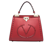 rock stud genuine leather tote lady bag 2015