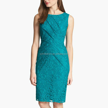 2015 Sleeveless Pleated Lace Sheath Dress Fashion Office Plus Size Dress