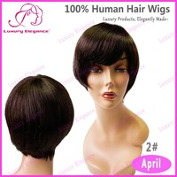 Luxury Elegance Dark Brown Chinese Short Bob Wigs With Bangs For Black Women
