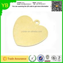 custom Raw Brass Sheet Metal Stamping Blanks, HEART shape, 1 hole, 18x18mm