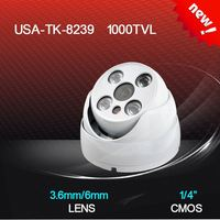 Dome camera TK appearance aluminum CMOS 1000TVL 3.6/6mm lens with 4 wafer H.LEDS IR distance 20M CCTV camera