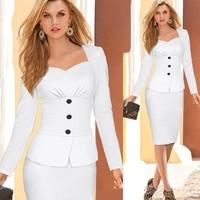 Women's Elegant Long Sleeve Peplum Wear To Work sexy Casual Business Party Dress SV009936