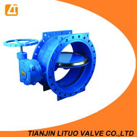 PN10/16 worm gear operated large size double flange butterfly valve