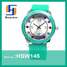 2015 Hot Sale Couple Quartz Blinking Diamond Silicone Watch Beautiful Design Wrist Japan Movt Lover watch