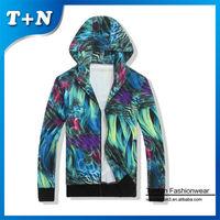 Green abstract printed custom womens zipper hoodie thin hoodies custom