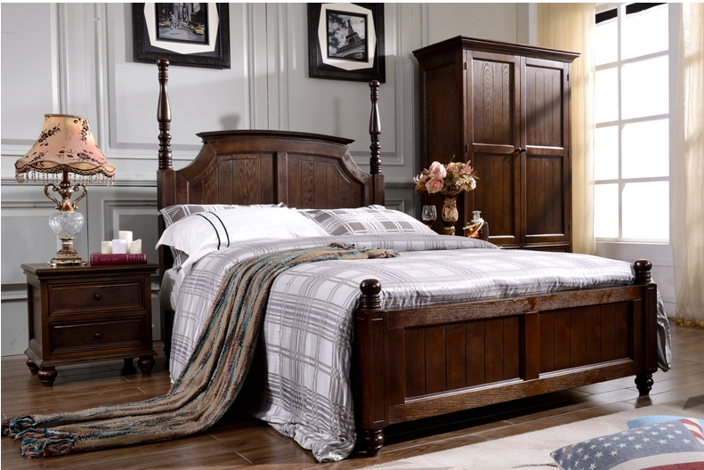 model king size solid wood american style bedroom