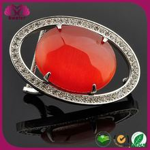 Indonesia 2015 fashion stainless steel Custom Belt Buckle with red gemstone
