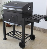 Cast Iron Classic Charcoal BBQ Barbecue Grills with Adjustable Charcoal Tray & Trolly Cart for Outdoor Kitchen Cooking Equipment